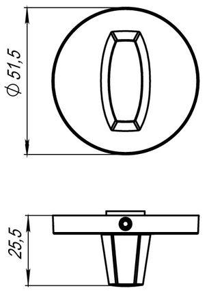 Ручка фиксатора WC-BOLT BK6 URS CP-8 Полированный Хром