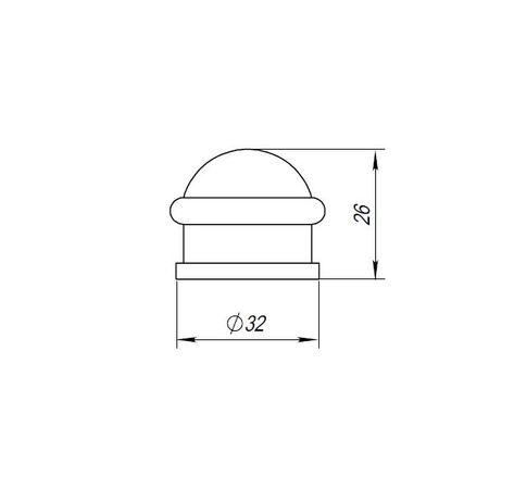 Ограничитель двери 26 мм напольный Punto (Пунто) матовое золото