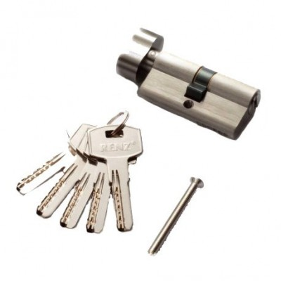 Цилиндр RENZ CC 60-H ключ-вертушка, SN матовый никель Арт 67767