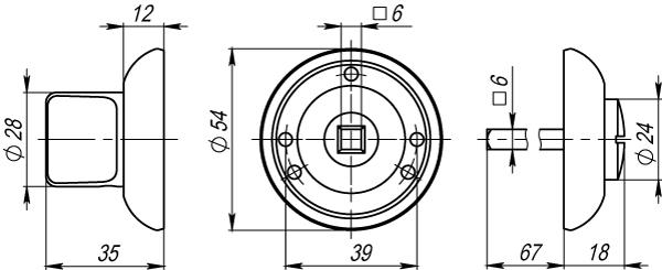 Ручка фиксатора WC-BOLT BK6-1WAB-11 матовая бронза