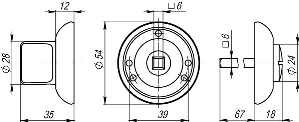 Ручка фиксатора WC-BOLT BK6-1CP-8 хром