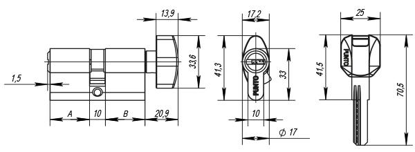 Цилиндр Punto ключ\вертушка Z402/60 mm (25+10+25) CP хром 5 кл.