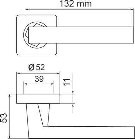 "Дверная ручка ARMADILLO ""CORSICA SQ003-21"" SN-3 никель"