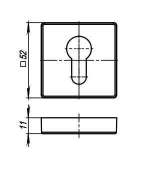 Накладка на цилиндр CYLINDER ET/SQ-21CP-8 полированны хром